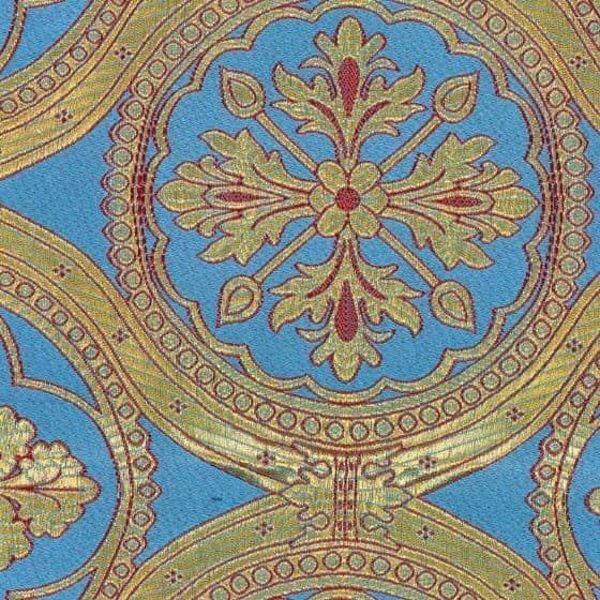 Immagine di Broccato Croce floreale H. cm 160 (63 inch) Poliestere Acetato Rosso Celeste Giallo Oro Viola Tessuto per Paramenti liturgici