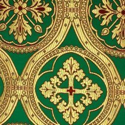 Picture of Brocade Cross H. cm 160 (63 inch) Polyester Acetate Fabric Green Flag White Blue Night Ivory Antique for liturgical Vestments