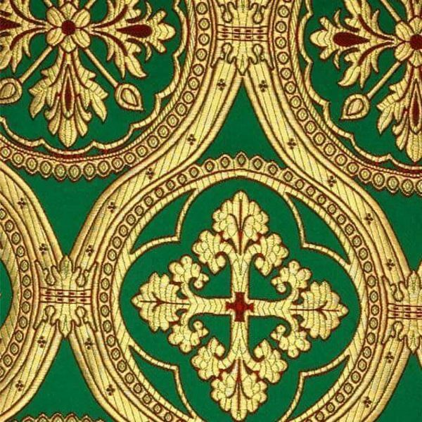 Imagen de Brocado Cruz H. cm 160 (63 inch) Tejido Poliéster Acetato Verde Bandera Blanco Noche Azul Marfil Antiguo para Vestiduras litúrgicas