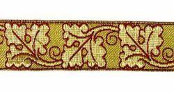 Imagen de Galón Roble oro color H. cm 3 (1,2 inch) Tejido en hilo metálico alto contenido Oro Burdeos Verde Oliva Morado Verde Bandera Blanco para Vestiduras litúrgicas