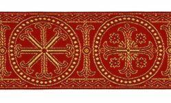Immagine di Gallone Bizantino Filo oro Ruota H. cm 9 (3,5 inch) Poliestere Acetato Nero/Verde Rosso/Cremisi Bianco/Oro Bianco/Rosa/Oro Antico Tessuto per Paramenti liturgici