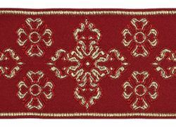 Picture of Galloon Golden Thread Cross H. cm 9 (3,5 inch) Polyester and Acetate Fabric Yellow White Yellow Red Crimson White Gold White Pink Antique Gold Trim Orphrey Banding for liturgical Vestments