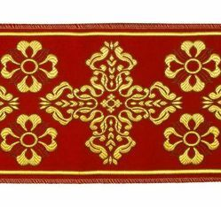 Picture of Orphrey Banding Fabric Golden Thread Cross H. cm 18 (7,1 inch) Polyester Acetate Red Celestial Olive Green Violet Yellow White Ivory Bordeaux for liturgical Vestments