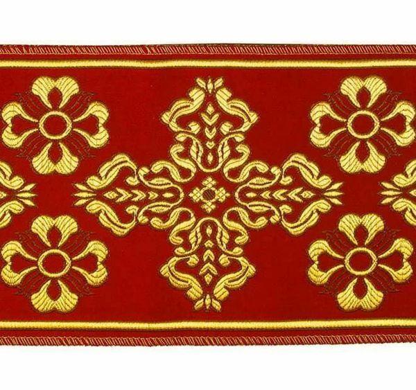 Immagine di Stolone Filo oro Croce Ortodossa Fiore H. cm 18 (7,1 inch) Poliestere Acetato Rosso Celeste Verde Viola Giallo Zecchino Bianco Avorio/Bordeaux Tessuto per Paramenti liturgici