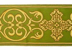 Immagine di Stolone Filo oro Croce Ortodossa cornice H. cm 18 (7,1 inch) Poliestere Acetato Rosso Celeste Verde Viola Giallo Zecchino Bianco Avorio/Bordeaux Tessuto per Paramenti liturgici