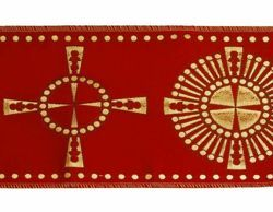 Immagine di Stolone oro Croce raggera H. cm 18 (7,1 inch) Lurex Rosso Celeste Verde Viola Bianco Tessuto per Paramenti liturgici