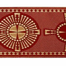 Immagine di Stolone oro Croce raggera retinata H. cm 18 (7,1 inch) Lurex Rosso Celeste Verde Viola Bianco Tessuto per Paramenti liturgici
