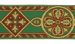 Picture of Byzantine Galloon Golden Thread H. cm 9 (3,5 inch) Polyester and Acetate Fabric Green Flag Ivory Black Pink White Yellow Light blue Brown Rosewood Black Dark Green Red Crimson Trim Orphrey Banding for liturgical Vestments