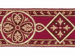 Picture of Byzantine Galloon H. cm 8 (3,1 inch) Viscose and Polyester Fabric Red Celestial Olive Green Brown Violet Yellow Green Flag Trim Orphrey Banding for liturgical Vestments