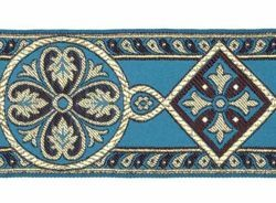 Picture of Byzantine Galloon H. cm 8 (3,1 inch) Viscose and Polyester Fabric Black Red White Yellow Light blue Brown Rosewood Black Dark Green Black Brown Ivory Bordeaux Green Oasis Trim Orphrey Banding for liturgical Vestments