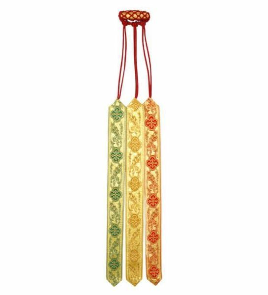 Picture of 3 Ribbons Multicolor Bible Bookmarks de luxe with olive L. cm 30 (11,8 inch) Viscose and Polyester multiple Page Markers for Bible Missal and Sacred Texts
