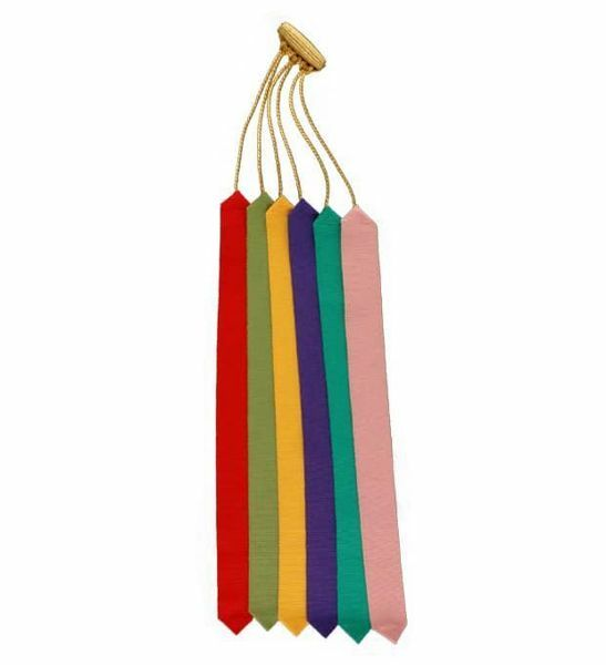 Picture of 6 Ribbons Multicolor Bible Bookmarks De Luxe L. cm 30 (11,8 inch) Polyester and Acetate multiple Page Markers for Bible Missal and Sacred Texts
