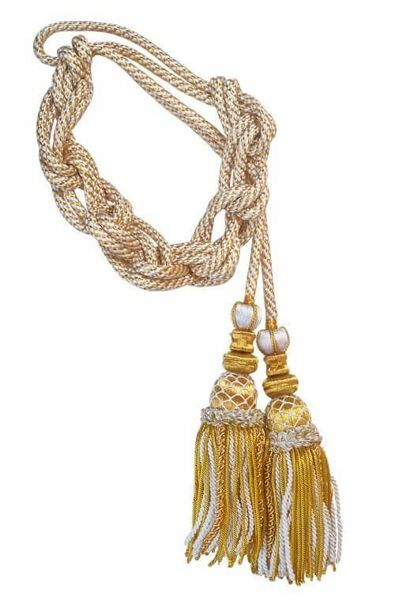 Picture of Cincture with tassels Striped Viscose Felisi 1911 White