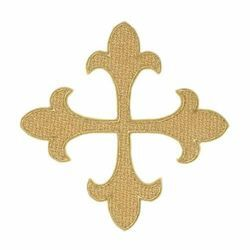 Picture of Embroidered Gold Papale Cross Motif H. cm 17 (6,7 inch) Acetate and Viscose for Chasubles and liturgical Vestments