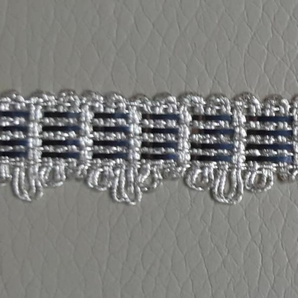 Picture of Agremano Braided Trim Silver metal 4-webbings H.cm 1,20 (1,47 inch.)  cm Metallic thread and Viscose Border Edge Trimming for liturgical Vestments