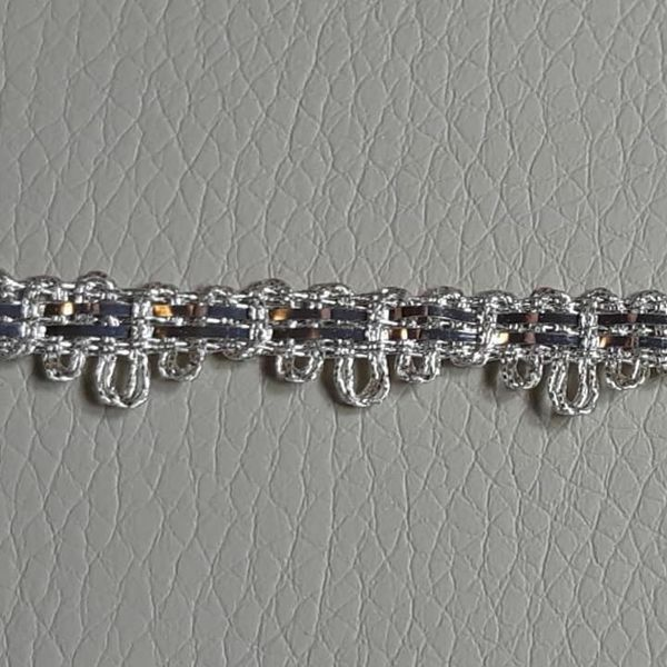 Picture of Agremano Braided Trim silver metal H. cm 0,5 (0,19 inch.) 2-webbings Metallic thread and Viscose Border Edge Trimming for liturgical Vestments