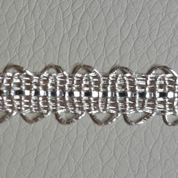 Imagen de Agreman Galón metal plateado Bordado H. cm 1 (0,4 inch) en hilo metálico y Viscosa Borde Ribete Pasamanería para Vestiduras litúrgicas