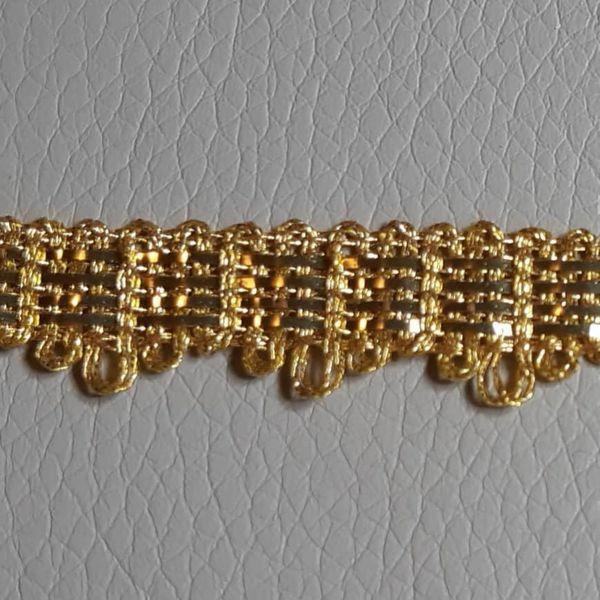 Imagen de Agreman Galón metal dorado H. cm 1 (0,39 inch)  4 tirillas en hilo metálico y Viscosa Borde Ribete Pasamanería para Vestiduras litúrgicas