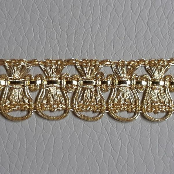 Picture of Agremano Braided Trim gold metal Fleur-de-lis H. cm 1,2 (0,47 inch) Metallic thread and Viscose Border Edge Trimming for liturgical Vestments