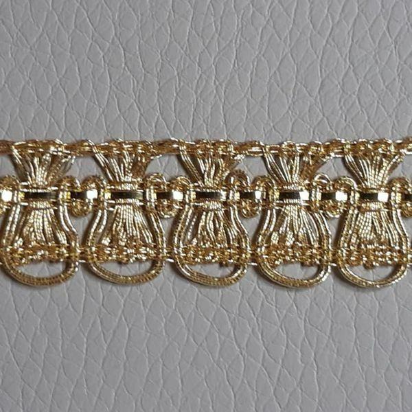 Immagine di Agremano metallo oro Fiordaliso H. cm 1,2 (0,47 inch) filato metallico Viscosa Orlo Bordo Passamaneria per Paramenti sacri