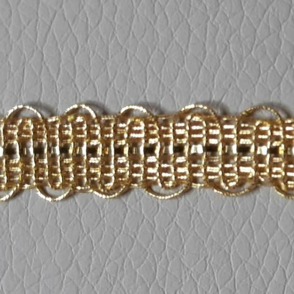 Picture of Agremano Braided Trim gold metal Embroidery H. cm 0,8 (0,31 inch) Metallic thread and Viscose Border Edge Trimming for liturgical Vestments