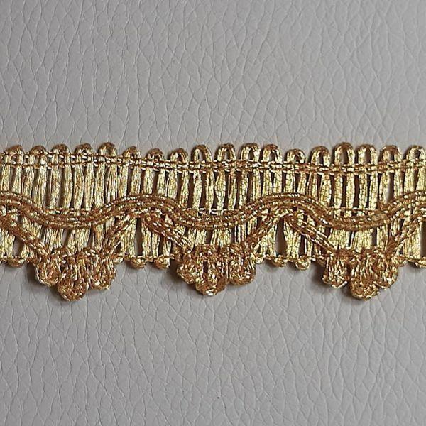 Imagen de Agreman Galón oro Viscosa Poliéster H. cm 2,50 Borde Ribete Pasamanería para Vestiduras litúrgicas