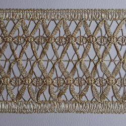 Picture of Agremano Braided Trim Gold braided net H. cm 9,5 (3,74 inch) Viscose Polyester Border Edge Trimming for liturgical Vestments