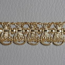 Picture of Agremano Braided Trim gold metal Fleur-de-lis H. cm 1,5 (0,6 inch) Metallic thread and Viscose Border Edge Trimming for liturgical Vestments