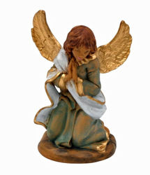 Picture of Kneeling Glory Angel cm 13 (5 inch) Lux Euromarchi Nativity Scene Traditional style in wood stained plastic PVC for outdoor use