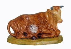 Picture of Ox cm 13 (5 inch) Lux Euromarchi Nativity Scene Traditional style in wood stained plastic PVC for outdoor use