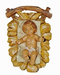 Imagen de Niño Jesús en Cuna cm 13 (5 inch) Lux Belén Euromarchi Estilo Tradicional en plástico PVC efecto madera para exteriores