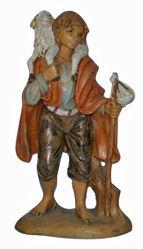 Immagine di Pastore con Pecora cm 13 (5 inch) Lux Presepe Euromarchi in plastica PVC per esterno tinto legno Stile Tradizionale