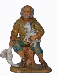 Picture of Shepherd with Sheep cm 13 (5 inch) Lux Euromarchi Nativity Scene Traditional style in wood stained plastic PVC for outdoor use