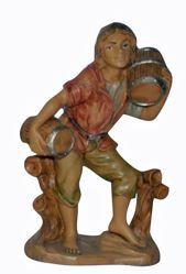 Immagine di Pastore con Botti cm 13 (5 inch) Lux Presepe Euromarchi in plastica PVC per esterno tinto legno Stile Tradizionale