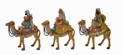 Picture of 3 Wise Kings on Camel Set cm 13 (5 inch) Lux Euromarchi Nativity Scene Traditional style in wood stained plastic PVC for outdoor use