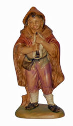 Picture of Shepherd with Flute cm 13 (5 inch) Lux Euromarchi Nativity Scene Traditional style in wood stained plastic PVC for outdoor use