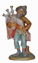 Picture of Bagpiper cm 13 (5 inch) Lux Euromarchi Nativity Scene Traditional style in wood stained plastic PVC for outdoor use