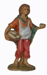 Picture of Shepherd with Bread cm 13 (5 inch) Lux Euromarchi Nativity Scene Traditional style in wood stained plastic PVC for outdoor use