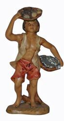 Picture of Fishmonger cm 13 (5 inch) Lux Euromarchi Nativity Scene Traditional style in wood stained plastic PVC for outdoor use