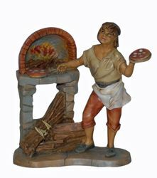 Picture of Pizza Man cm 13 (5 inch) Lux Euromarchi Nativity Scene Traditional style in wood stained plastic PVC for outdoor use