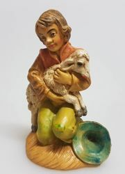 Picture of Shepherd sitting with sheep cm 8 (3,1 inch) Pellegrini Nativity Scene small size Statue Wood Stained plastic PVC traditional Arabic indoor outdoor use