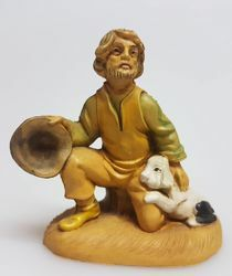 Picture of Shepherd with dog cm 8 (3,1 inch) Pellegrini Nativity Scene small size Statue Wood Stained plastic PVC traditional Arabic indoor outdoor use