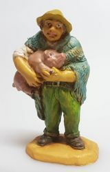 Picture of Shepherd with Pig cm 8 (3,1 inch) Pellegrini Nativity Scene small size Statue Wood Stained plastic PVC traditional Arabic indoor outdoor use