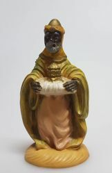 Picture of Balthazar Black Wise King cm 8 (3,1 inch) Pellegrini Nativity Scene small size Statue Wood Stained plastic PVC traditional Arabic indoor outdoor use