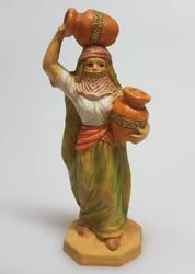 Picture of Arab Woman With Amphoras cm 8 (3,1 inch) Pellegrini Nativity Scene small size Statue Wood Stained plastic PVC traditional Arabic indoor outdoor use