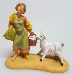 Picture of Woman with goat cm 8 (3,1 inch) Pellegrini Nativity Scene small size Statue Wood Stained plastic PVC traditional Arabic indoor outdoor use