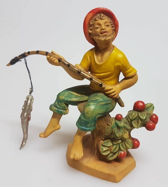 Picture of Fisherman cm 8 (3,1 inch) Pellegrini Nativity Scene small size Statue Wood Stained plastic PVC traditional Arabic indoor outdoor use