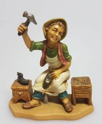 Picture of Shoemaker cm 8 (3,1 inch) Pellegrini Nativity Scene small size Statue Wood Stained plastic PVC traditional Arabic indoor outdoor use