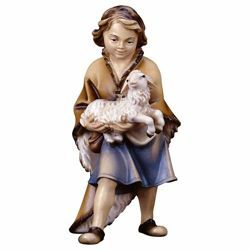 Picture of Child with Lamb cm 8 (3,1 inch) Hand Painted Shepherd Nativity Scene classic Val Gardena wooden Statue peasant style