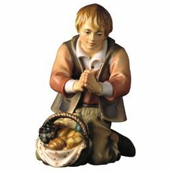 Picture of Kneeling Herder with Bread cm 8 (3,1 inch) Hand Painted Shepherd Nativity Scene classic Val Gardena wooden Statue peasant style